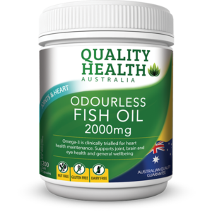 quality health odourless fish oil 2000mg 200s pharmacare